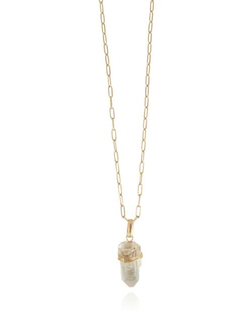 Collar largo chapado en oro de 24k adornado con un cristal de roca. Longitud ajustable. Longitud (cristal): 2,5 cm. Ancho (cristal): 1,3 cm Longitud (cadena): 52 – 55 cm