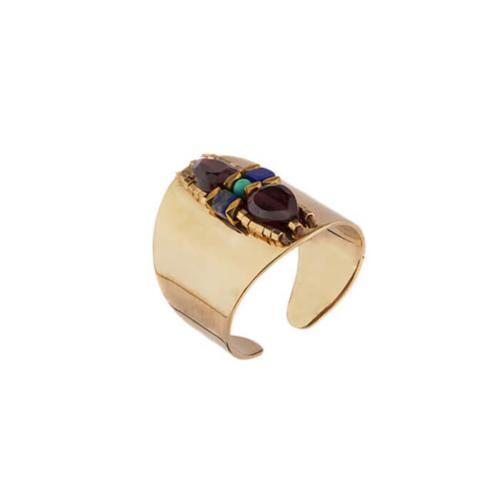 Anillo ajustable y ancho con piedras semipreciosas (Lapis Lazuli, Turquesa, Granate, Hématite dorada, Perla de Japón). Metal bañado en oro 14k.