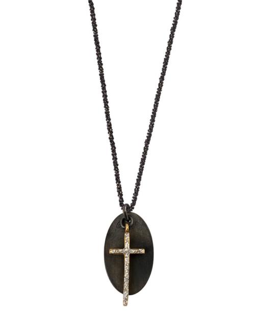 Colgante de plata 925 negro y cruz de plata 925 bañada en oro fino 18k y diamante esmaltado.