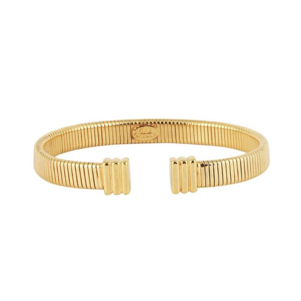 Pulsera flexible con estructura elástica adaptable. Metal chapado en oro de 24k.