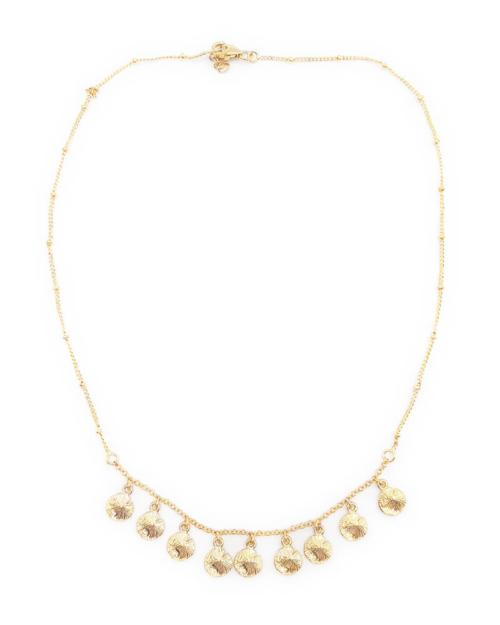 Gargantilla adornada con piezas pequeñas en formas circulares. Plata 925 con baño de oro de 18k.