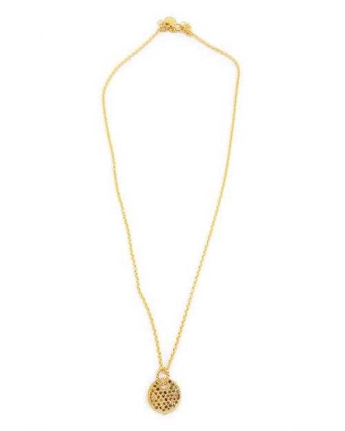 Gargantilla con colgante circular adornado con cristales. Plata 925 con baño de oro de 18k.