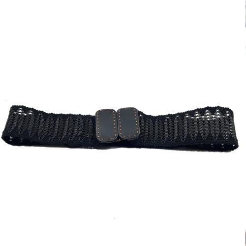 Cinturón ancho negro, hecho a mano con hebillas rectangulares. Tejido en hilo negro.