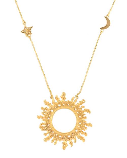 Colgante con sol grande y estrella y luna en la cadena. Plata chapado en oro. Largo: 60 cm. Diámetro: 5,2 cm