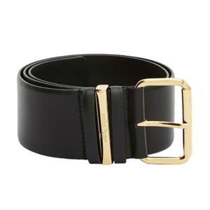 Cinturón 100% piel en color negro con hebilla dorada.