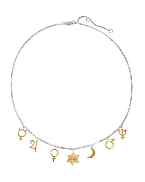 Gargantilla/choker de plata con símbolos de planetas. Símbolos de los planetas bañados en oro.