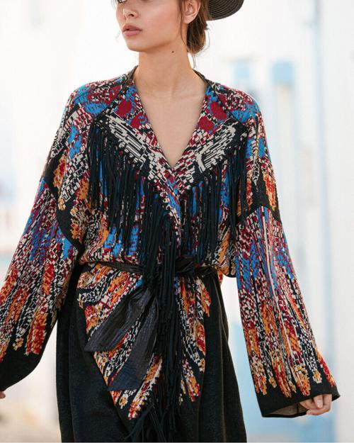 kimono estampado largo pocahontas