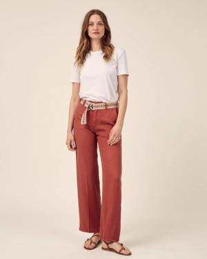 pantalón ancho de verano color rosa madera