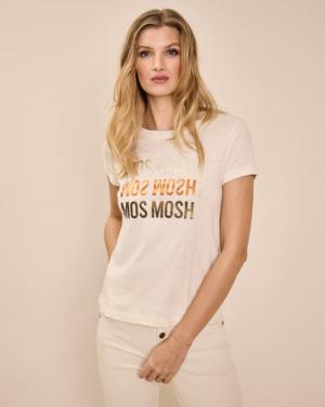Camiseta cruda, de manga corta, en una mezcla de algodón y lino, diseñada con un corte ajustado. Detallado con letras metálicas MOS MOSH en la parte delantera.